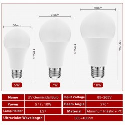 E27 - 5W - 7W - 10W - ultraviolet bulb - LED - germicidal lamp - sterilizer - disinfection - mite eliminator