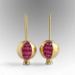 Gold / silver pomegranate - elegant earrings