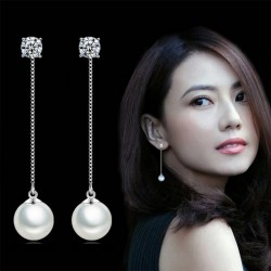 Long earrings with crystal & white pearl