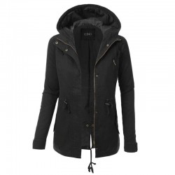 Warm hooded jacket - long - with zipper