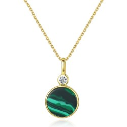 18K gold plated necklace with emerald malachite - 925 sterling silver