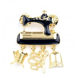 Black sewing machine brooches