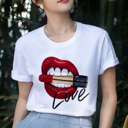 Red mouth - love - women tee