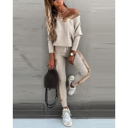 Fashionable tracksuit with sequins - set with long sleeve top & pants