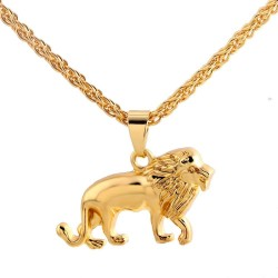 Fashionable lion necklace - gold