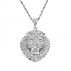 Iced out lion head - pendant necklace