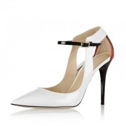 Pure white heels - snake veins