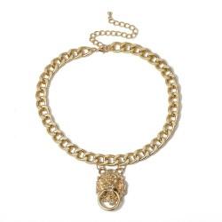 Gold lion head - pendant necklace