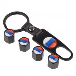 Russian flag - car valve caps - 4 pieces set