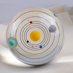 Crystal ball of the Solar System - a model of miniature planets - a glass globe - 80mm