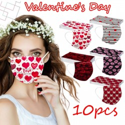 Valentine's day face masks - 3 layers - unisex - 10pcs