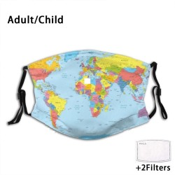 World map PM2.5 face masks - adult mask - child mask - with 2 filters