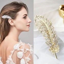 Crystal feather hair clip for women
