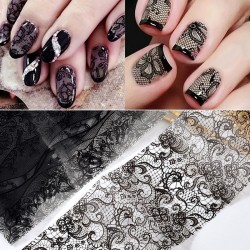 Nail art stickers - black & white flower & lace - 10 - 50 pieces