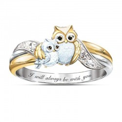 "Mother owl with child - crystal ring - ""I Will Always Be With You"" lettering"