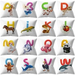 Cushion cover - single-sided - English alphabet with animals - 45 * 45cm