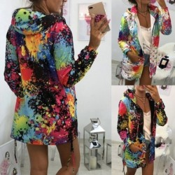 Jacket with hood - bomber - windbreaker - with pockets / zipper - colourful print