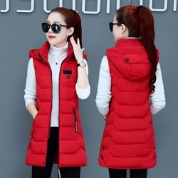 Warm sleeveless jacket - long hooded vest with zipper