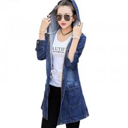 Trendy denim long jacket - with hood - zipper - pockets