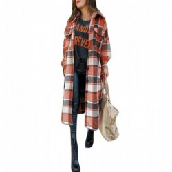 Vintage plaid coat - long shirt - with buttons / pockets