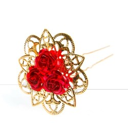 Golden hairpins with red roses - 30 pieces