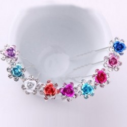 Crystal flower hair pins - 200 pieces / lot