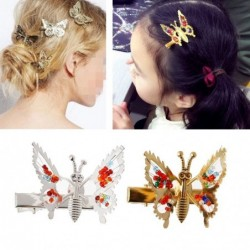 Hollow butterfly hairclip - with crystal decorations - children / kids