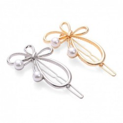 Bow-knot butterfly - metal hair clip - with pearl decorations