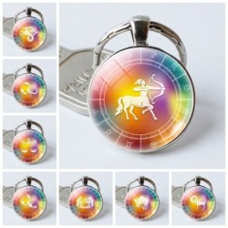 12 constellation zodiac - glass round keychain