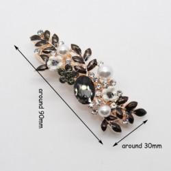 Rhinestone elegant black crystal hair clip - barrette leaf flower design -