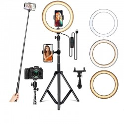 LED selfie ring - fill light lamp - with tripod - for makeup / video / photos - dimmable