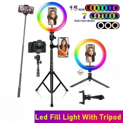 Selfie LED ring - RGB - dimmable fill light - with tripod - for photography / makeup / video