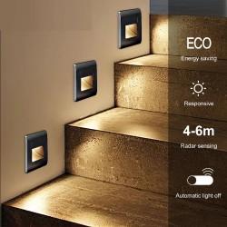 Recessed Led Wall Lamp PIR Motion Sensor Stair Case Light AC85-265V Step Lamp Corridor Lighting Indoor Wall Lighting