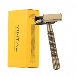 Manual shaving razor - double-sided - non-slip handle - butterfly mechanism - brass