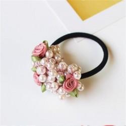 Elegant elastic hair band - with flowers / beaded pearls