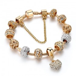 Luxurious gold bracelet - with crystal beads / heart