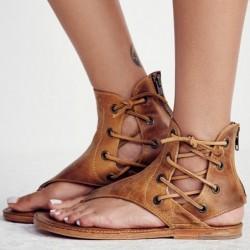 Summer vintage sandals - flat gladiators - with back zipper / laces