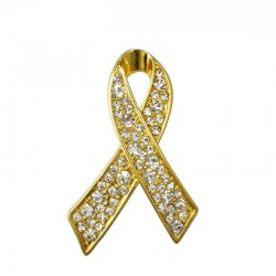 Breast cancer support - crystal brooch