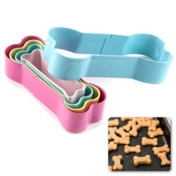 Cookie cutter mold - bone shaped - stainless steel - 5 pieces