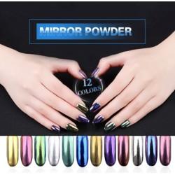 Polvere magica - gel UV - glitter per unghie - effetto specchio - 12 pezzi