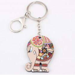 Colorful acrylic elephant - keychain
