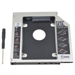 Universal aluminum SATA HDD Caddy 12.7mm box case enclosure optical bay
