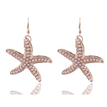 Boucles Doreilles étoile De Mer Or Et Perle