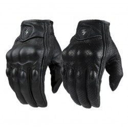 Retro Perforated Leather Motorcycle Protective Gloves