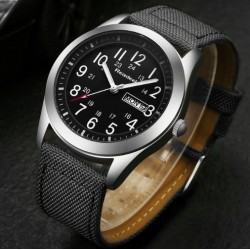 Canvas Strap Quartz Waterproof Military Men's Watch