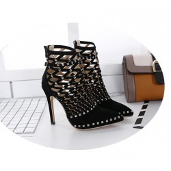 Rivet Studded Cut Out Caged High Heel Ankle Bootie