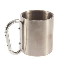 Stainless Steel Camping Cup Mug 180ml Aluminum Carabiner