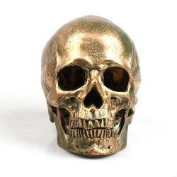 P-Flame Bronze Human Skull Resin Crafts Life Size 11 Model Modern Home Decor Imitation Metal Decora