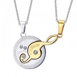 Music note pendant couples necklace set 2 pieces