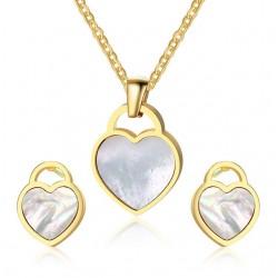 Heart Shape Necklace & Earrings Jewelry Set